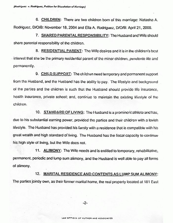 Alex Rodriguez Divorce Filing | The Smoking Gun