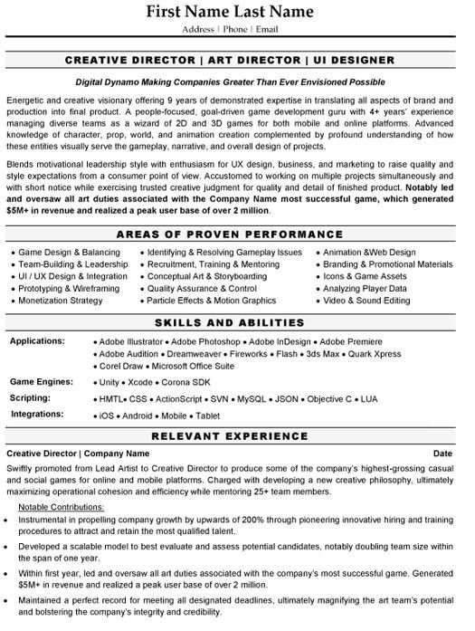 Download Creative Director Resume | haadyaooverbayresort.com