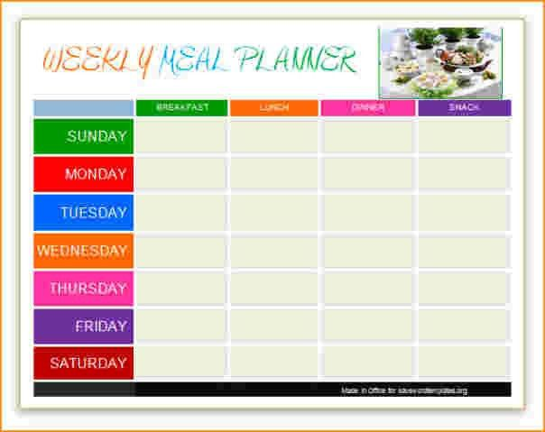 meal planning template | Questionnaire Template