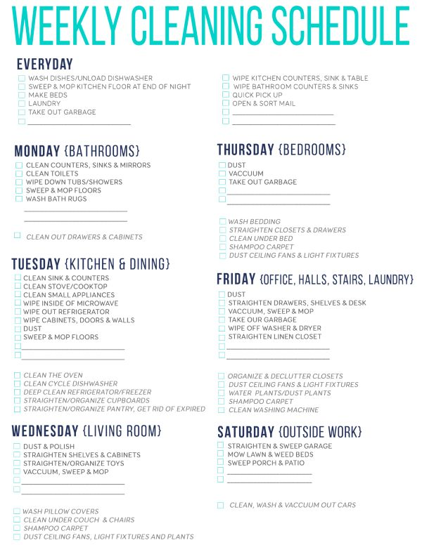 7 Of The Best Free Printable Cleaning Schedules | Cleaning ...