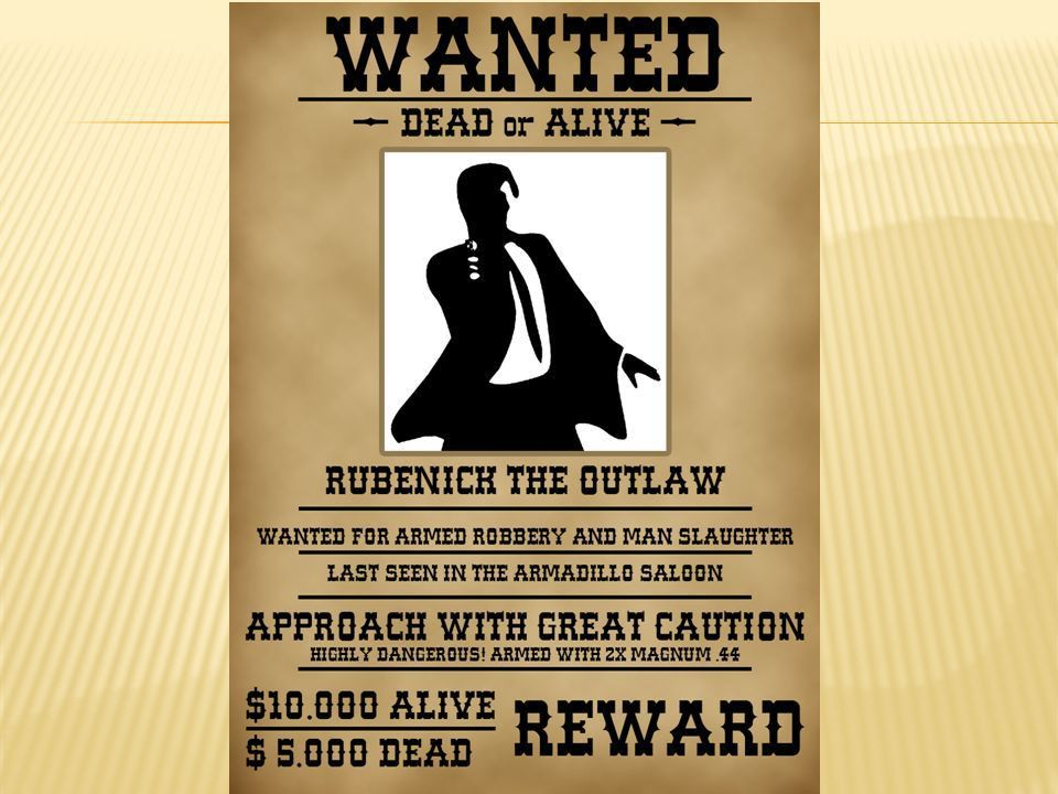 Create a wanted poster for the person that Oedipus is looking for ...