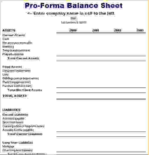 7+ pro forma balance sheet | Procedure Template Sample