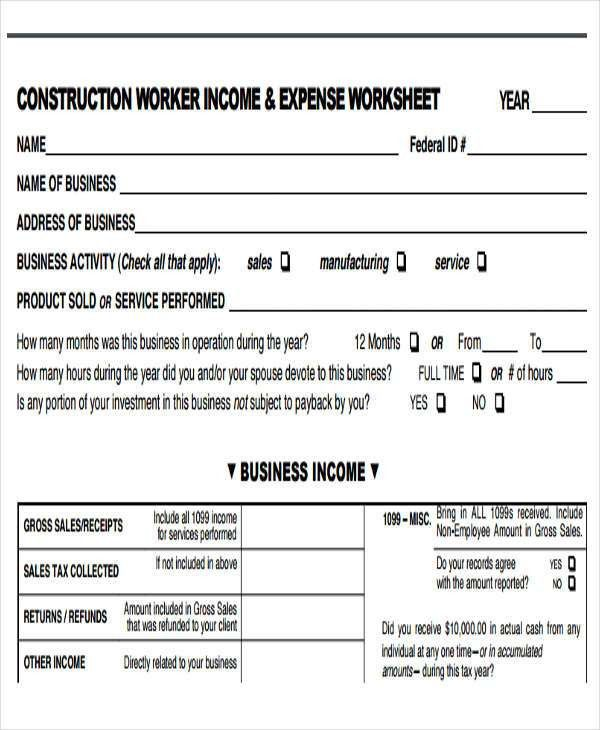 income and expense report - Template