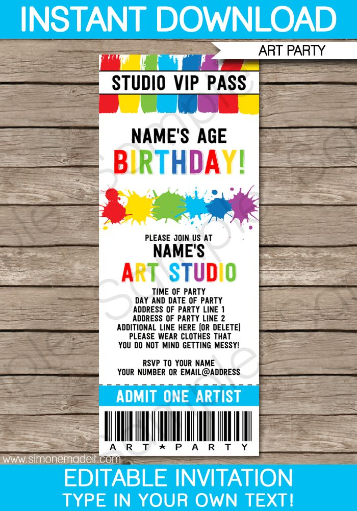 Art Party Ticket Invitations | Paint Party | Template
