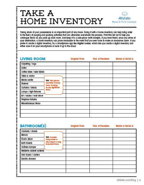 Moving Guide   Printable Home Inventory Checklist | Organizations .  House Inventory List Template