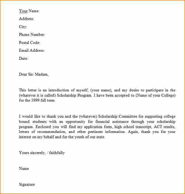 a letter for scholarship - Basic Job Appication Letter