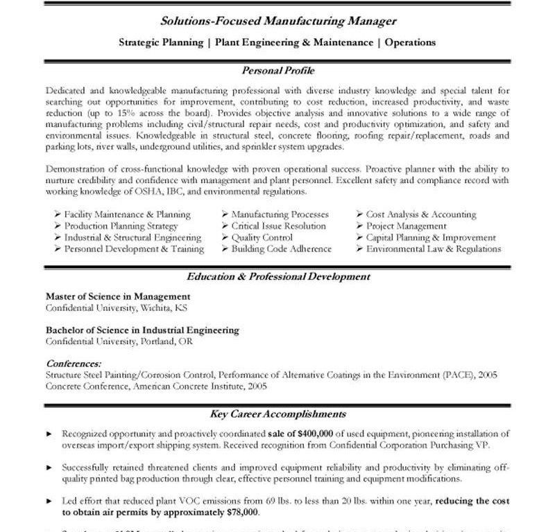 Dazzling Production Manager Resume 15 Manufacturing Resume ...