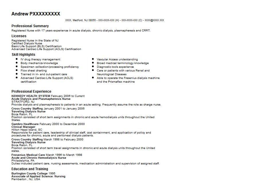 Dialysis Nurse Resume Sample - uxhandy.com