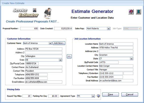 Service Estimator - How it works