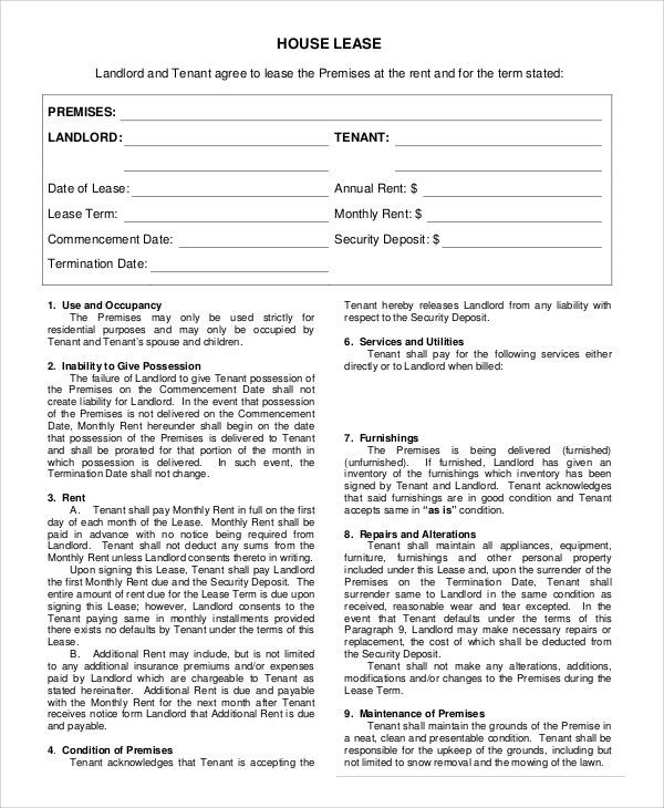 Sample House Rental Agreement - 10+ Examples in PDF, Word