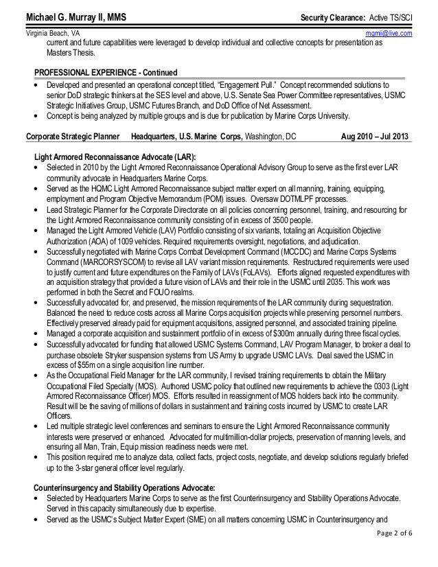 Michael G. Murray II Federal Resume March 2015