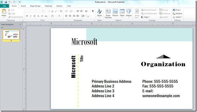 How to Make a Business Card with Microsoft Publisher - Online ...