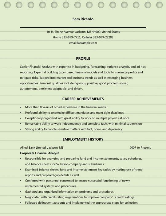 Gis Analyst Resume Examples. junior financial analyst resume ...
