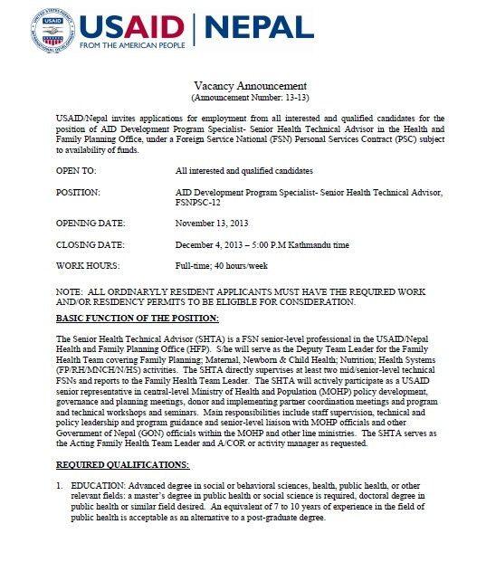 Vacancy Announcement: AID Development Program Specialist - Senior ...