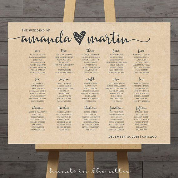 Large wedding seating chart printable guest table assignment