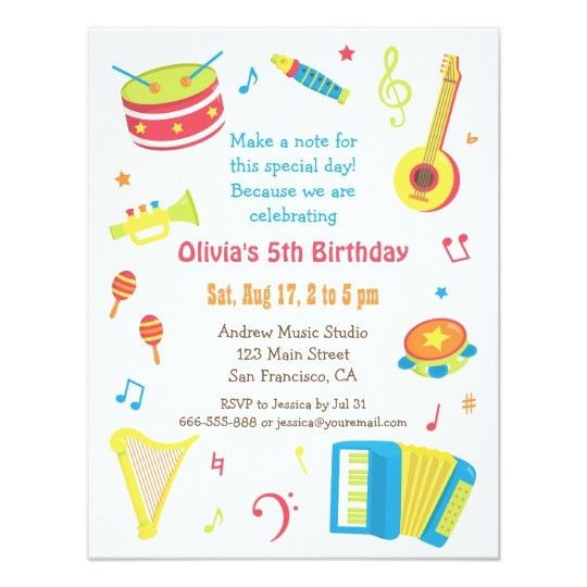 Colourful Music Instruments Kids Birthday Party Card | Zazzle.com