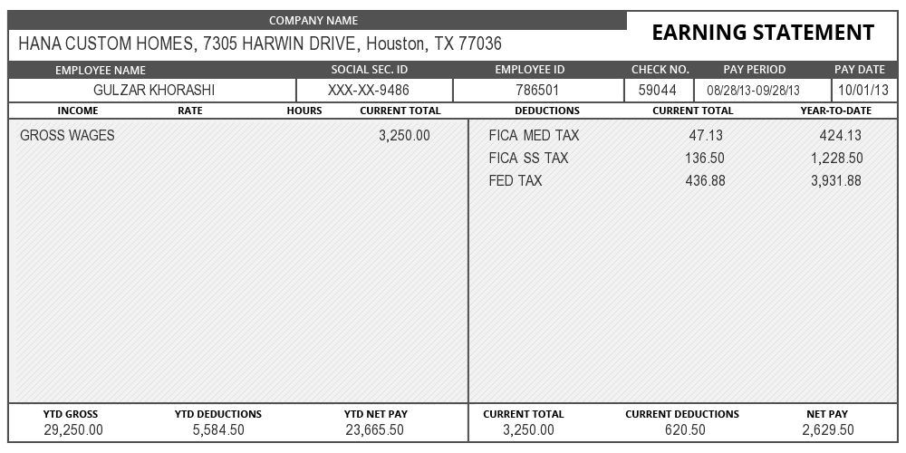 adp payroll check stub template
