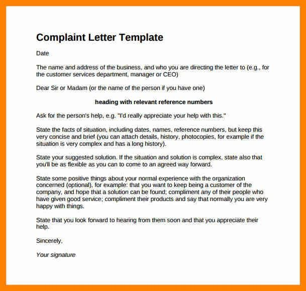 letter of complaint format - Template