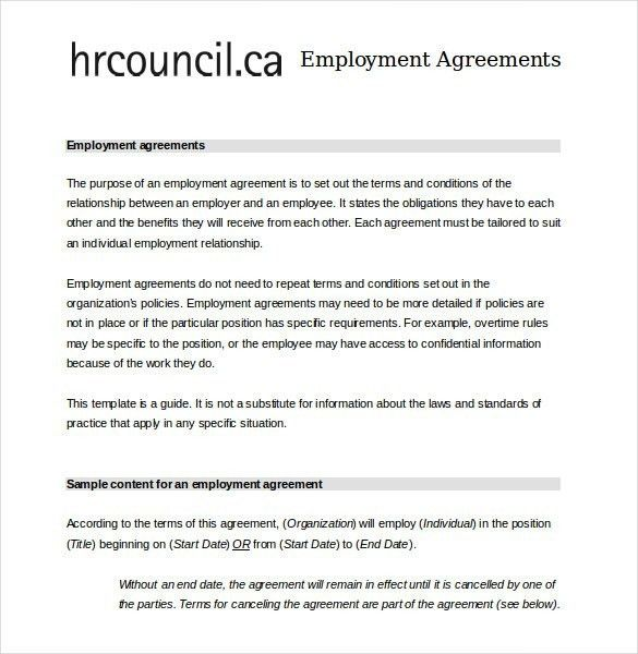 Employment Contract Template Free Download | Template Idea