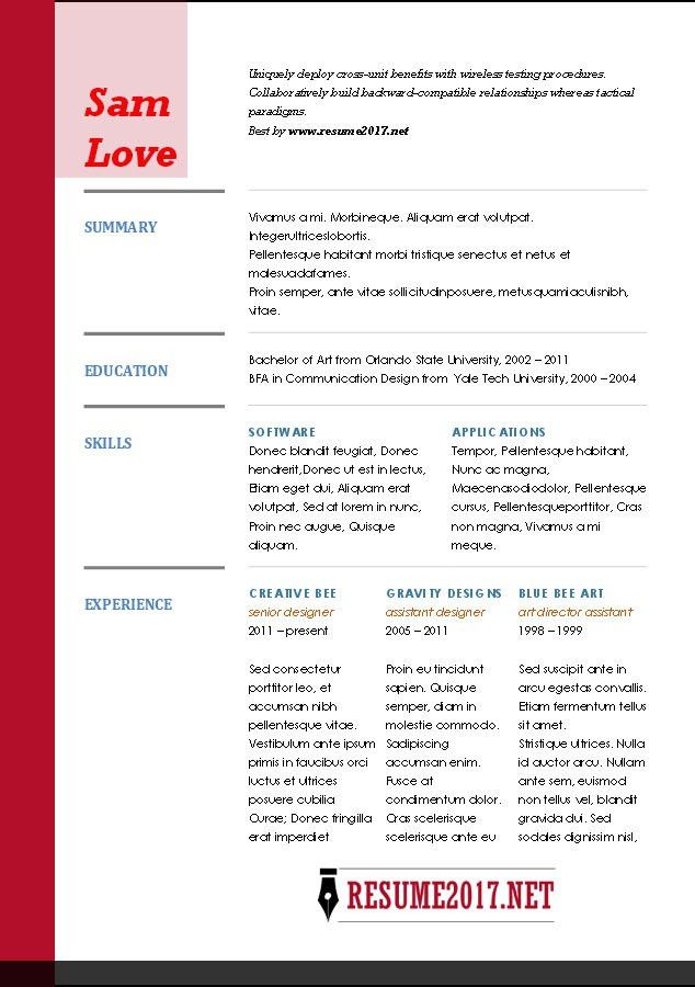 functional-resume-format-2017-red.jpg (634×900) | Jobs | Pinterest ...