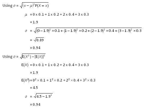 Standard deviation (of a discrete random variable) | nzmaths