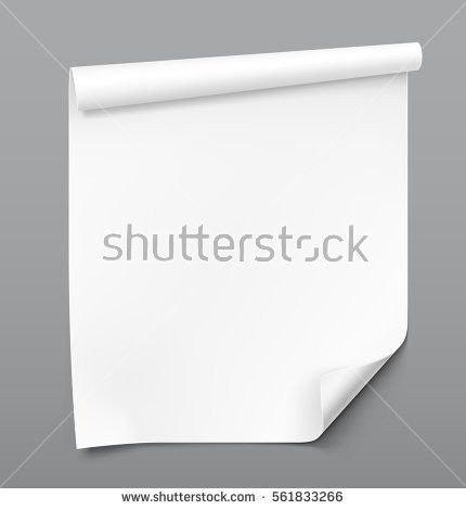 Curled Blank Paper Sheet On Gray Stock Vector 561833266 - Shutterstock