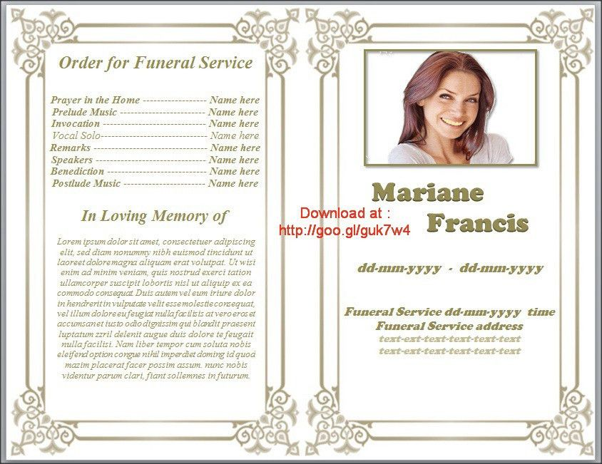 funeral program template designs