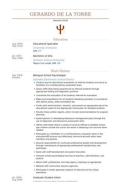School Psychologist Resume samples - VisualCV resume samples database