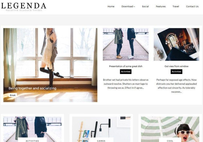 Legenda Fashion Blogger Template • Blogspot Templates 2017