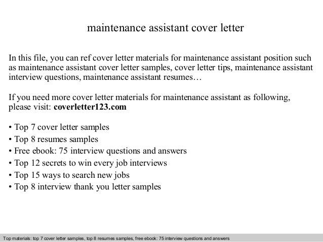 Maintenance assistant cover letter