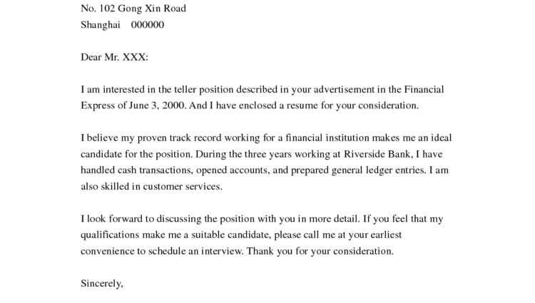 Cover letter for resume bank teller