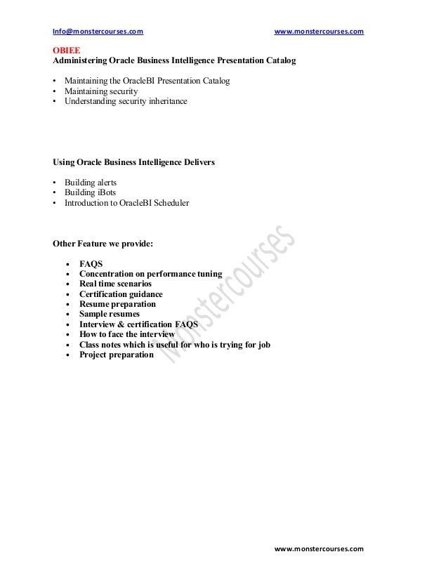Coverer Technical Example Obiee Architect Sample Resume Agent
