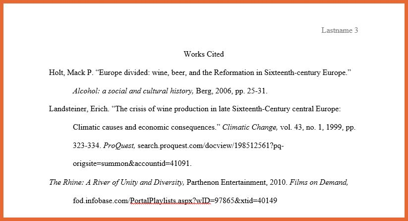 mla works cited example | bid proposal example