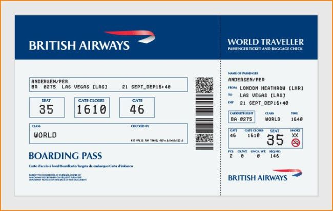 Elegant Airline Boarding Pass Ticket Template Example with Blue ...