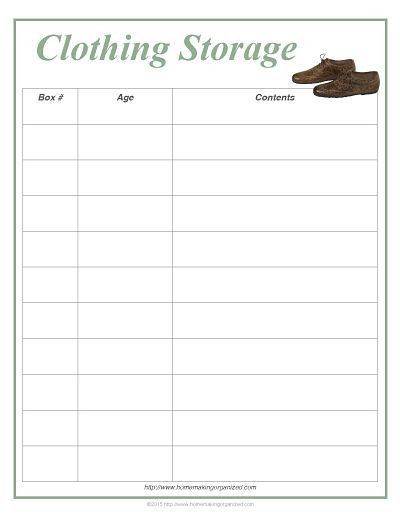 Clothing Storage Printable and Inventory Sheet - Homemaking Organized