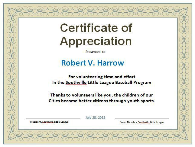 Certificate Of Appreciation Verbiage Military Veterans Appreciation