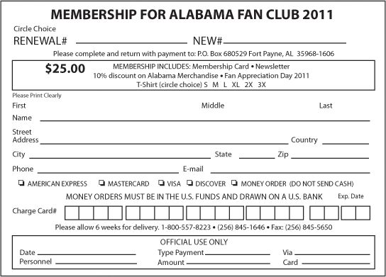 The Alabama Band :: Fan Club - Join Through The Mail
