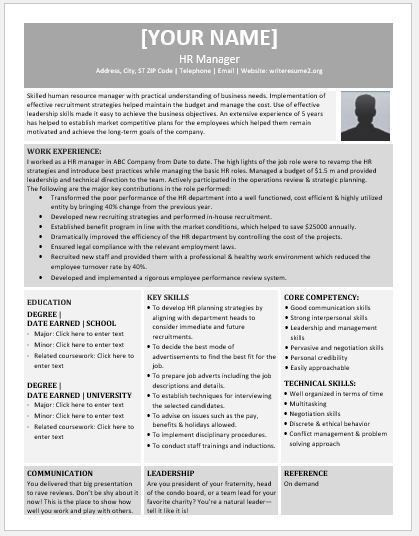 Human Resource Manager Resume Contents, Layouts & Templates ...