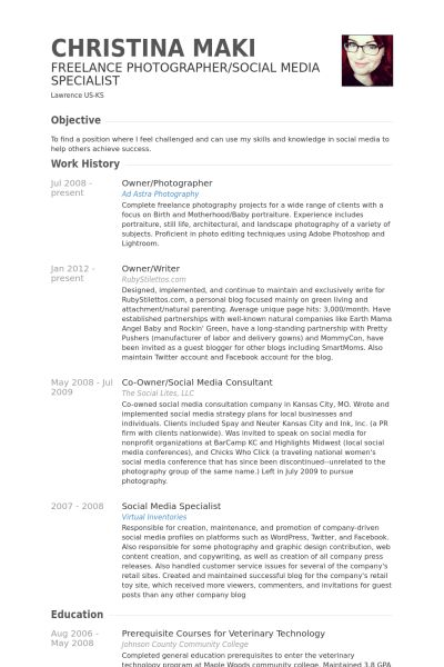 Owner/Photographer Resume samples - VisualCV resume samples database