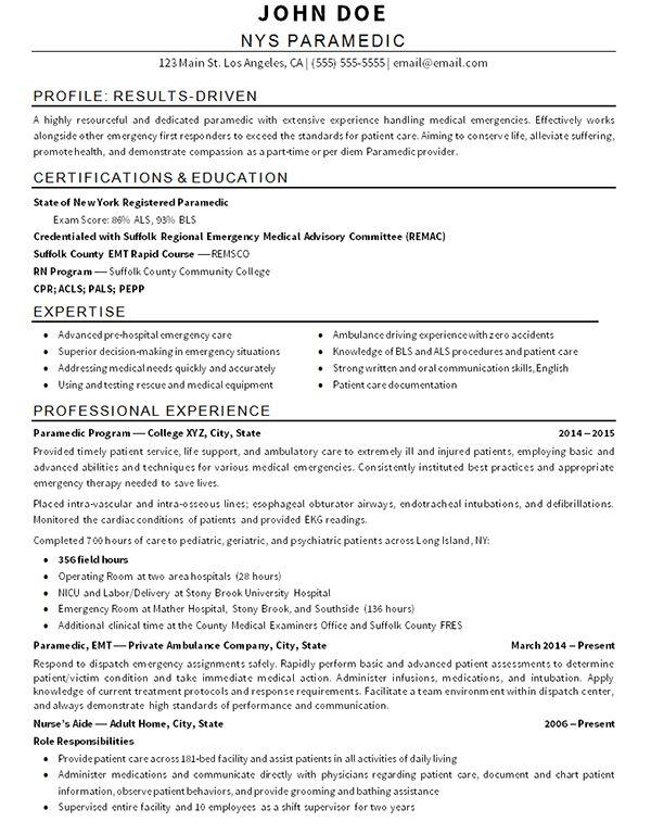 Impressive Inspiration Emt Resume Examples 6 EMT Paramedic Resume ...