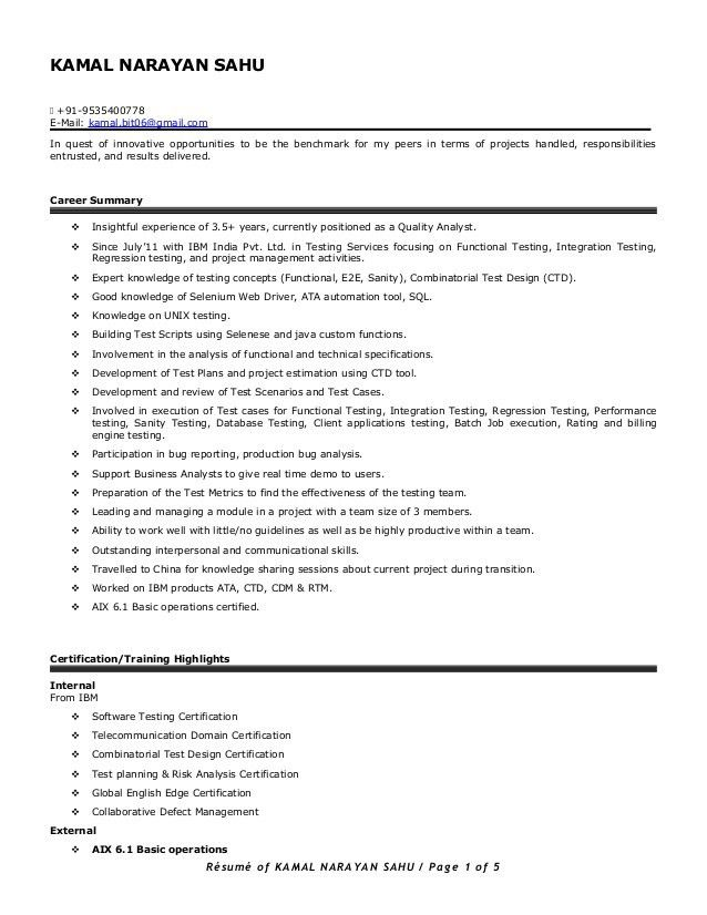 Resume of Kamal Sahu (Automation + Manual testing - 3.5+ years)