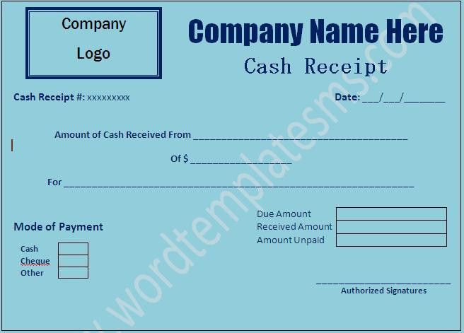 Cash Receipt Template Download Template | Word Excel Formats