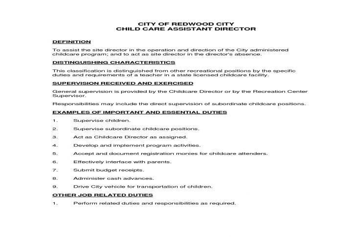 job description for child care director site director job