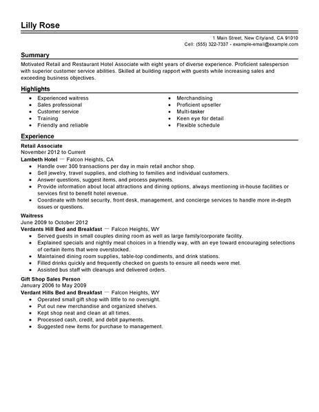 Best Retail And Restaurant Associate Resume Example | LiveCareer