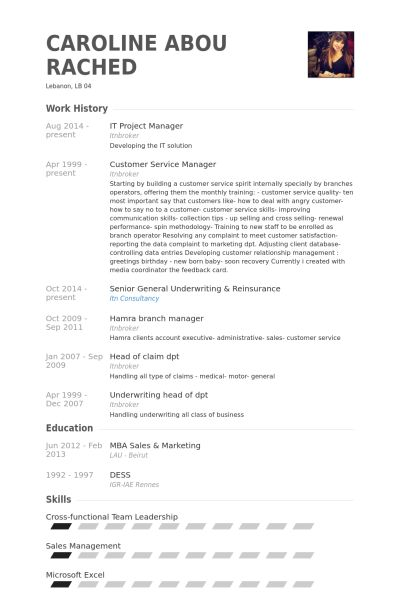 Resumes for project managers