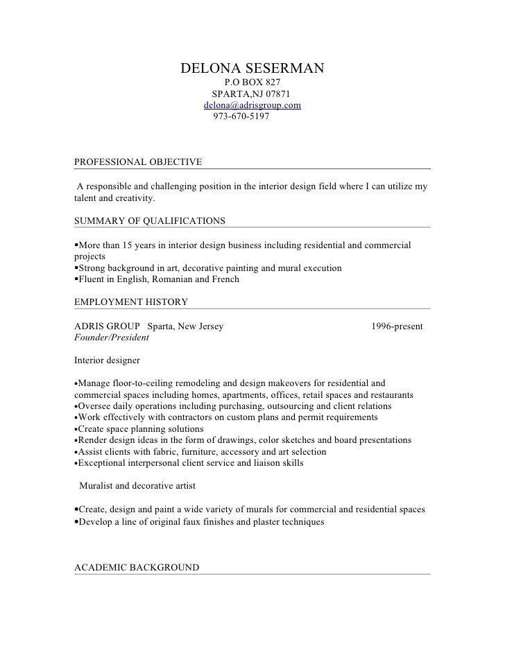 interior design resumes objectives design free resume images