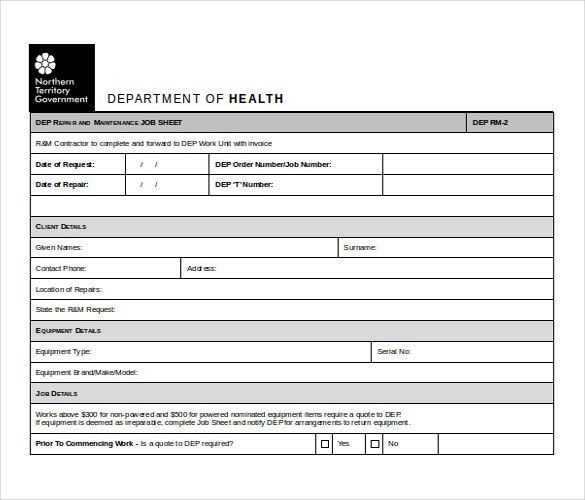 Job Sheet Format Excel Example Job Sheet Microsoft Excel – Free Job Sheet Template Download