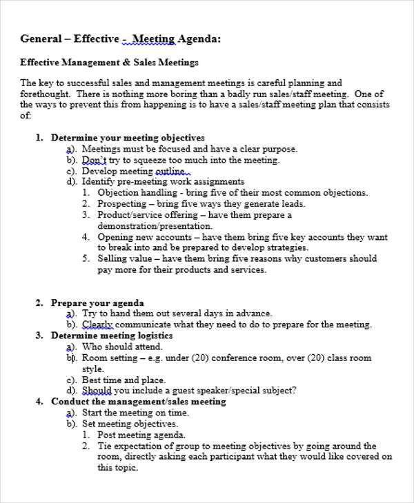 Meeting Agenda Outline Template  BesikEightyCo
