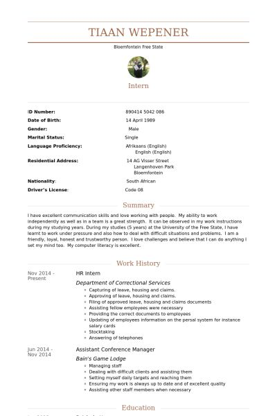 Hr Intern Resume samples - VisualCV resume samples database