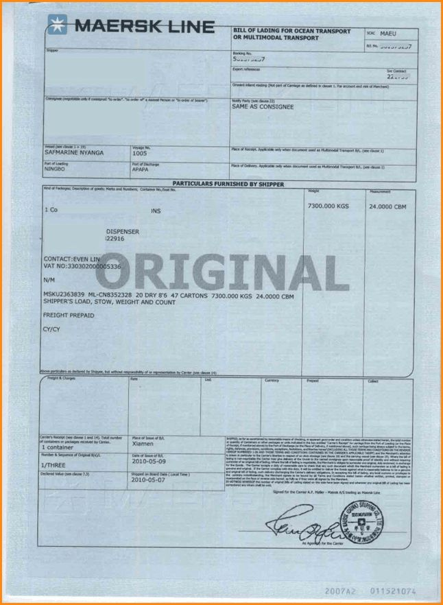 8+ sample bill of lading | Loan Application Form